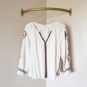 Lucky Brand Tops - Lucky Brand Crepe Cream Embroidered Long Sleeve L
